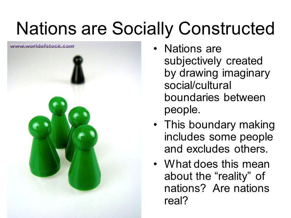 Nations are Socially Constructed Nations are subjectively created by drawing imaginary social/cultural boundaries between people.