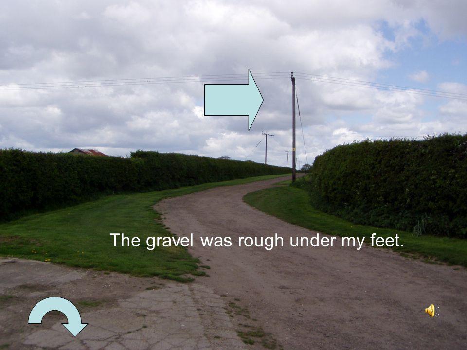 The gravel was rough under my feet.