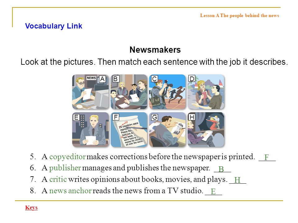 Vocabulary Link Newsmakers Answer these questions about the jobs described in the pictures.