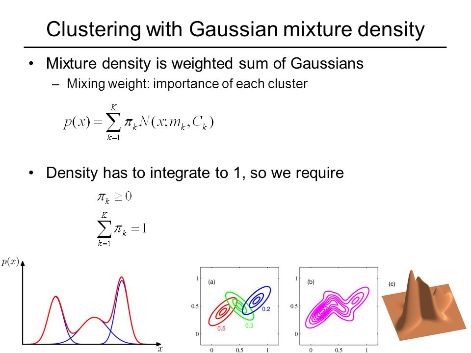 Clustering with Gaussian mixture density Mixture density is weighted sum of Gaussians –Mixing weight: importance of each cluster Density has to integrate to 1, so we require