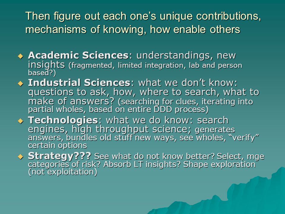 Then figure out each one's unique contributions, mechanisms of knowing, how enable others  Academic Sciences: understandings, new insights (fragmente