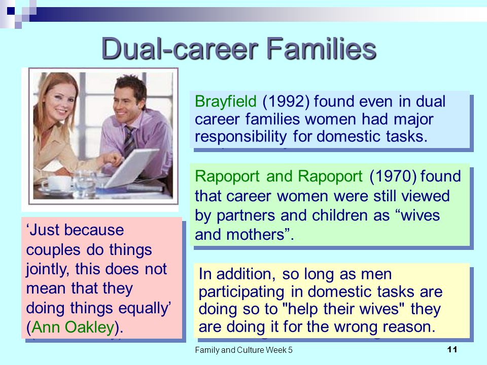 Family and Culture Week 511 Dual-career Families Brayfield (1992) found even in dual career families women had major responsibility for domestic tasks.