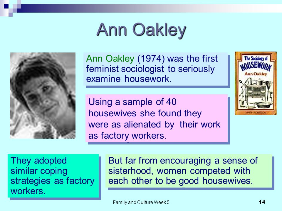 Family and Culture Week 514 Ann Oakley Ann Oakley (1974) was the first feminist sociologist to seriously examine housework.