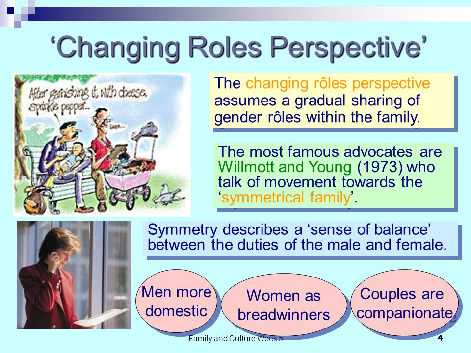Family and Culture Week 54 'Changing Roles Perspective' The changing rôles perspective assumes a gradual sharing of gender rôles within the family.