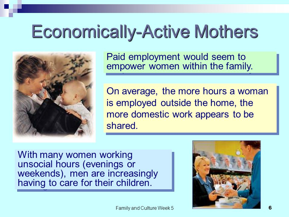 Family and Culture Week 57 Technology and Living Standards If men's contribution is limited, the burden of domestic tasks on women is being lessened by other factors: Online delivery of shopping is time and labour saving especially to women.