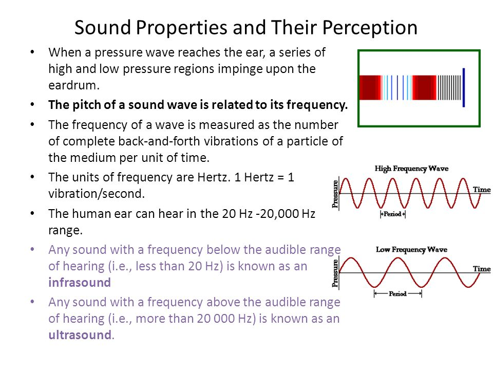 Sound Properties and Their Perception When a pressure wave reaches the ear, a series of high and low pressure regions impinge upon the eardrum. The pi