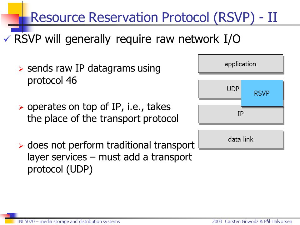 2003 Carsten Griwodz & Pål Halvorsen INF5070 – media storage and distribution systems RSVP will generally require raw network I/O  sends raw IP datagrams using protocol 46  operates on top of IP, i.e., takes the place of the transport protocol  does not perform traditional transport layer services – must add a transport protocol (UDP) Resource Reservation Protocol (RSVP) - II application data link IP UDP RSVP