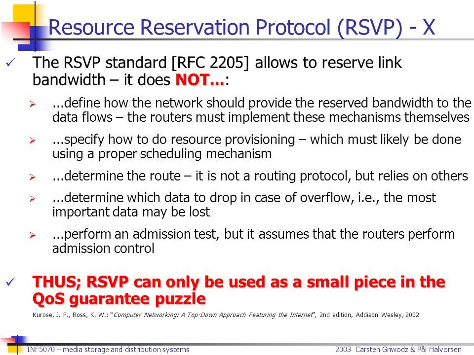 2003 Carsten Griwodz & Pål Halvorsen INF5070 – media storage and distribution systems Resource Reservation Protocol (RSVP) - X NOT...