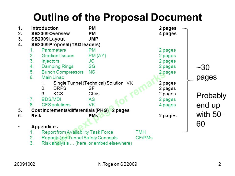 20091002N.Toge on SB20092 See next page for remarks Outline of the Proposal Document 1.IntroductionPM2 pages 2.SB2009 OverviewPM4 pages 3.SB2009 LayoutJMP 4.SB2009 Proposal (TAG leaders) 1.ParametersPM2 pages 2.Gradient IssuesPM (AY)2 pages 3.InjectorsJC2 pages 4.Damping RingsSG2 pages 5.Bunch CompressorsNS2 pages 6.Main Linac 1.Single Tunnel (Technical) Solution VK2 pages 2.DRFSSF2 pages 3.KCSChris2 pages 7.BDS/MDIAS2 pages 8.CFS solutionsVK4 pages 5.Cost Increments/differentials (PHG)2 pages 6.Risk PMs2 pages Appendices 1.Report from Availability Task ForceTMH 2.Report(s) on Tunnel Safety ConceptsCF/PMs 3.Risk analysis … (here, or embed elsewhere) ~30 pages Probably end up with 50- 60