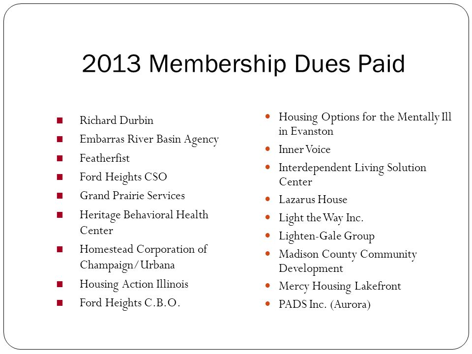 2014 Membership Dues Paid CoC- DoPage County CoC- Heartland CoC- Northwestern Illinois CoC- Southern Illinois CoC- West Central Illinois Kitty Cole Co