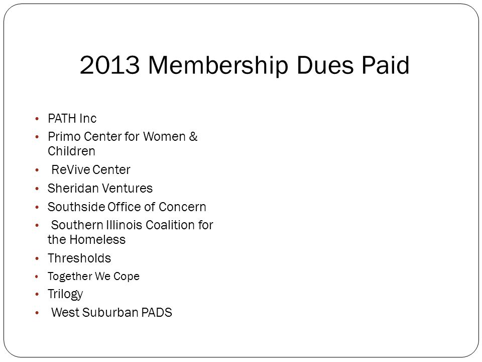 2013 Membership Dues Paid Housing Options for the Mentally Ill in Evanston Inner Voice Interdependent Living Solution Center Lazarus House Light the W