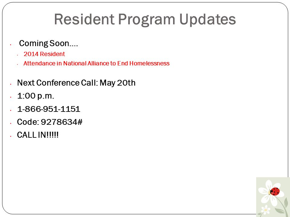 Residents Program Report April 2014