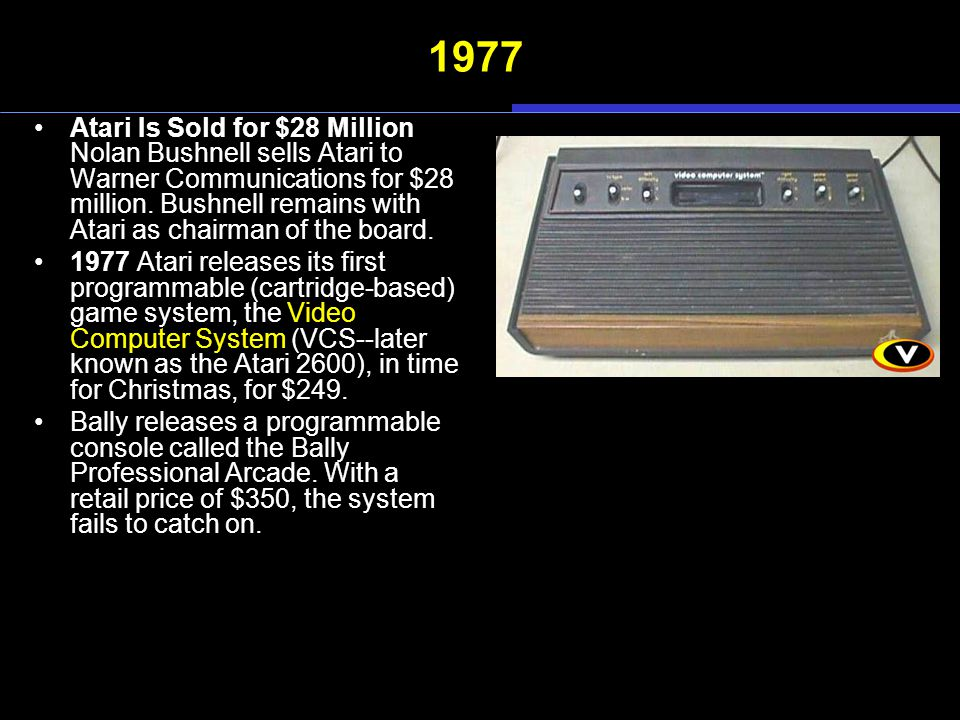 1977 Atari Is Sold for $28 Million Nolan Bushnell sells Atari to Warner Communications for $28 million.