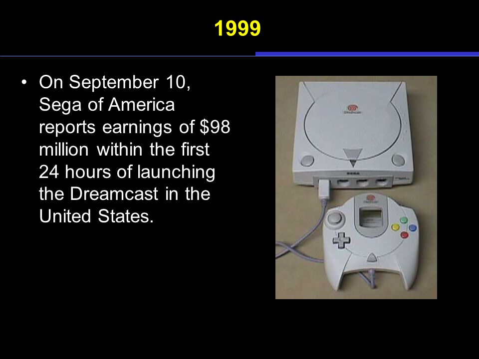 1999 On September 10, Sega of America reports earnings of $98 million within the first 24 hours of launching the Dreamcast in the United States.