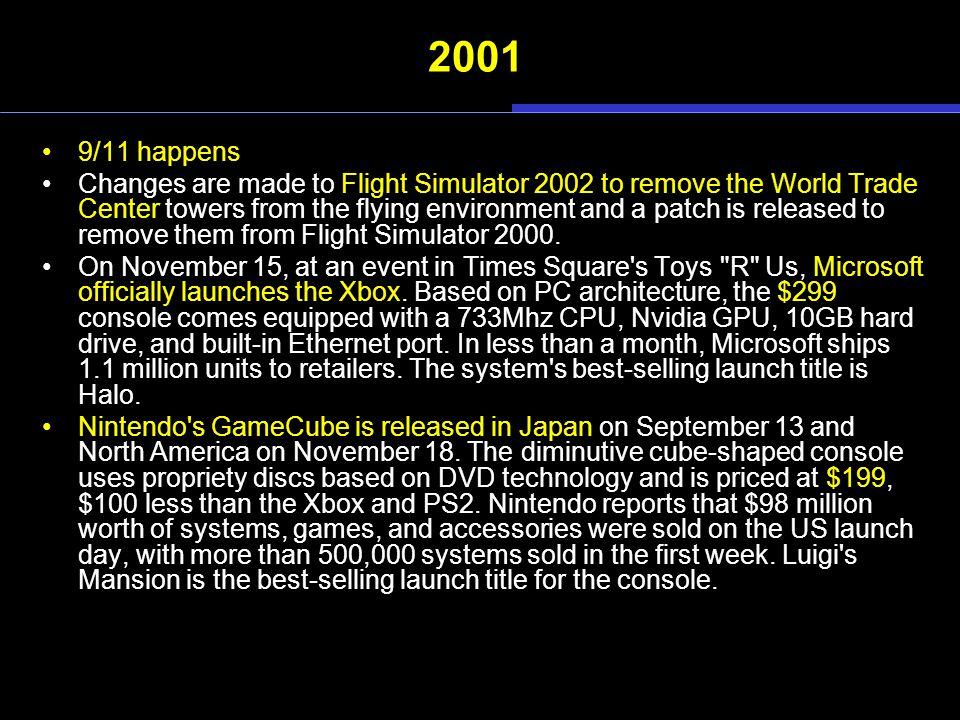 2001 9/11 happens Changes are made to Flight Simulator 2002 to remove the World Trade Center towers from the flying environment and a patch is release