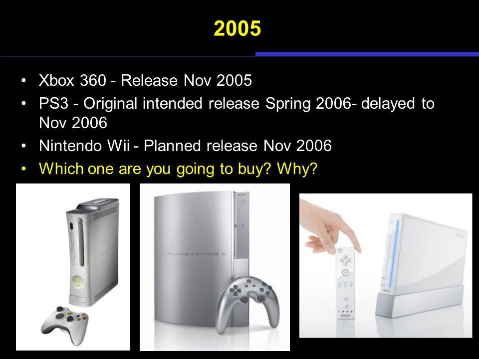 2005 Xbox 360 - Release Nov 2005 PS3 - Original intended release Spring 2006- delayed to Nov 2006 Nintendo Wii - Planned release Nov 2006 Which one ar