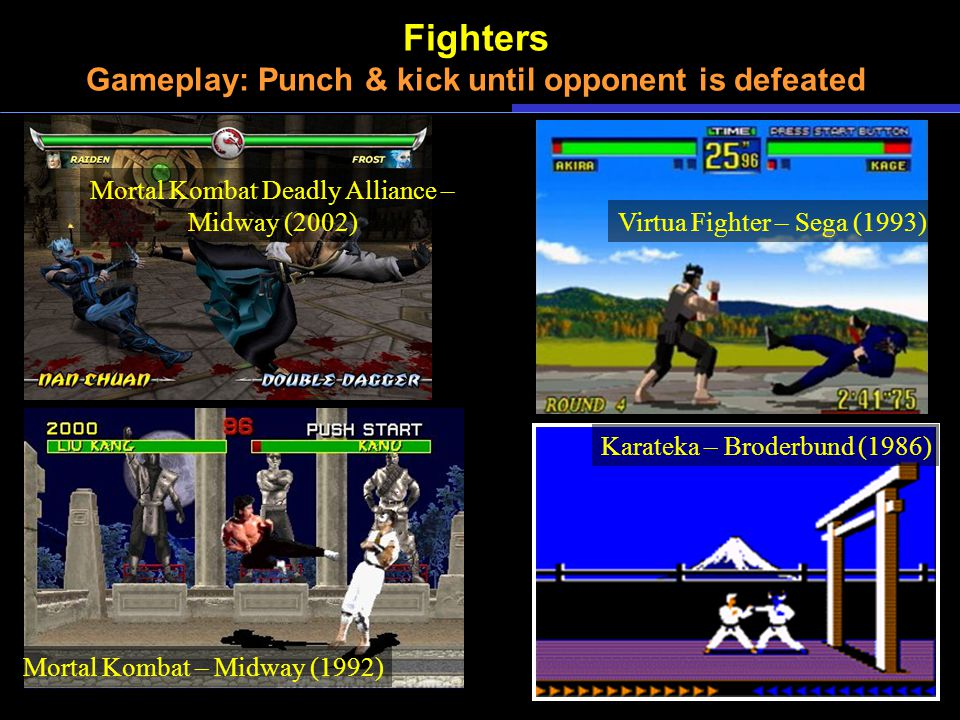 Fighters Gameplay: Punch & kick until opponent is defeated Karateka – Broderbund (1986) Mortal Kombat – Midway (1992) Mortal Kombat Deadly Alliance – Midway (2002) Virtua Fighter – Sega (1993)
