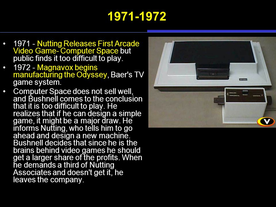 1971-1972 1971 - Nutting Releases First Arcade Video Game- Computer Space but public finds it too difficult to play. 1972 - Magnavox begins manufactur