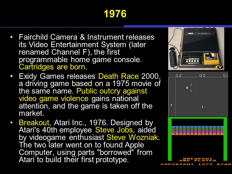 1976 Fairchild Camera & Instrument releases its Video Entertainment System (later renamed Channel F), the first programmable home game console.