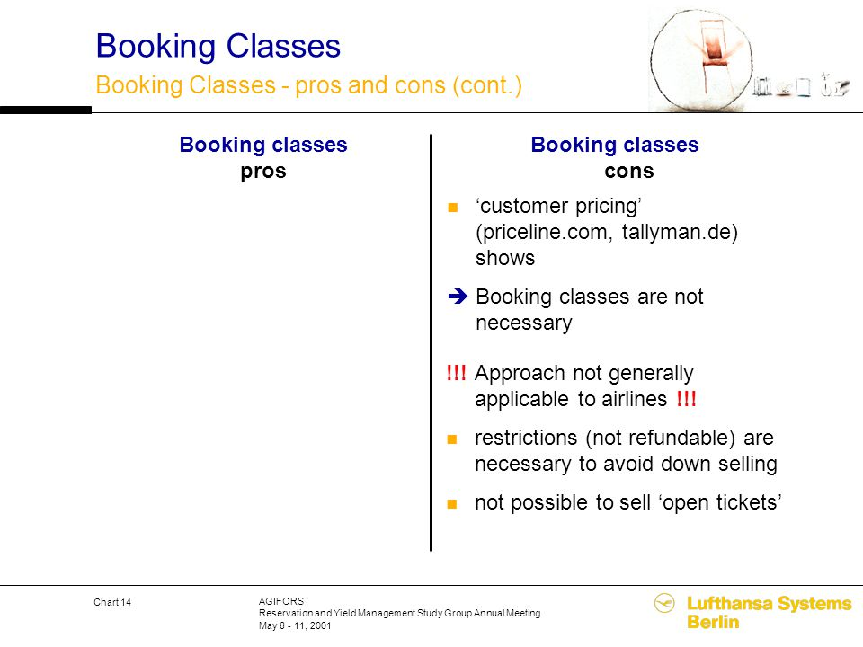 AGIFORS Reservation and Yield Management Study Group Annual Meeting May 8 - 11, 2001 Chart 14 Booking classes cons Booking classes pros Booking Classe