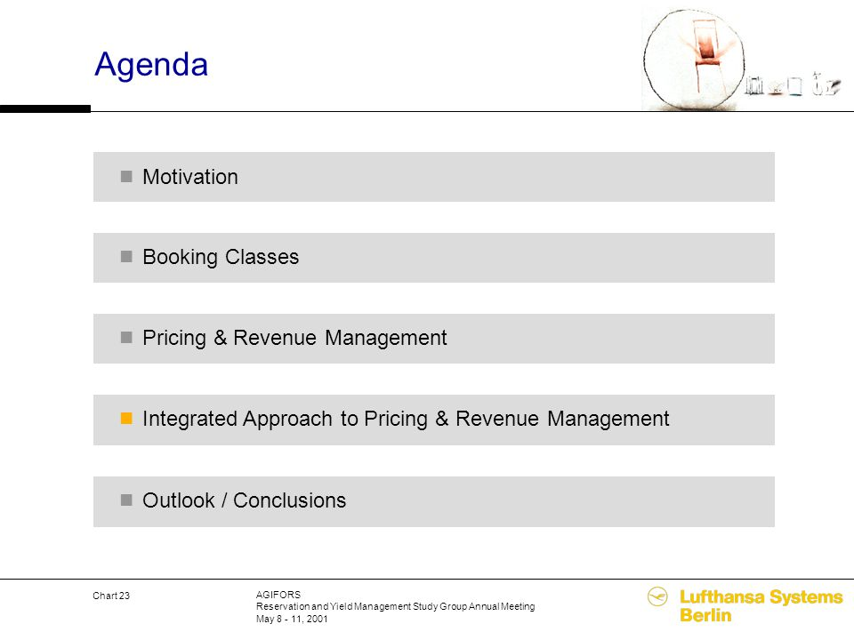 AGIFORS Reservation and Yield Management Study Group Annual Meeting May 8 - 11, 2001 Chart 23 Agenda Pricing & Revenue Management Integrated Approach
