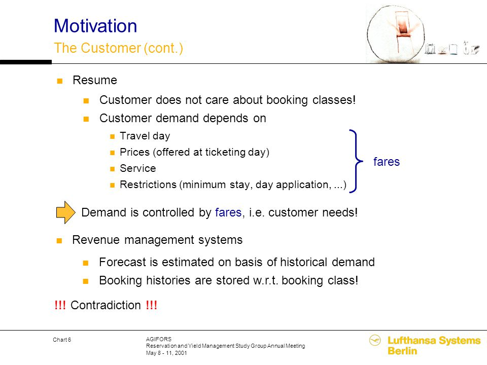 AGIFORS Reservation and Yield Management Study Group Annual Meeting May 8 - 11, 2001 Chart 6 Motivation The Customer (cont.) Customer does not care ab
