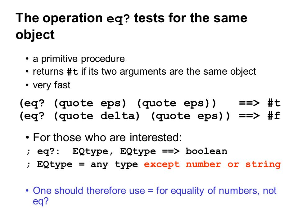 The operation eq.