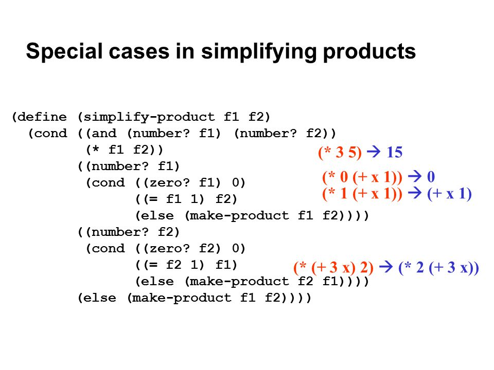 Special cases in simplifying products (define (simplify-product f1 f2) (cond ((and (number.
