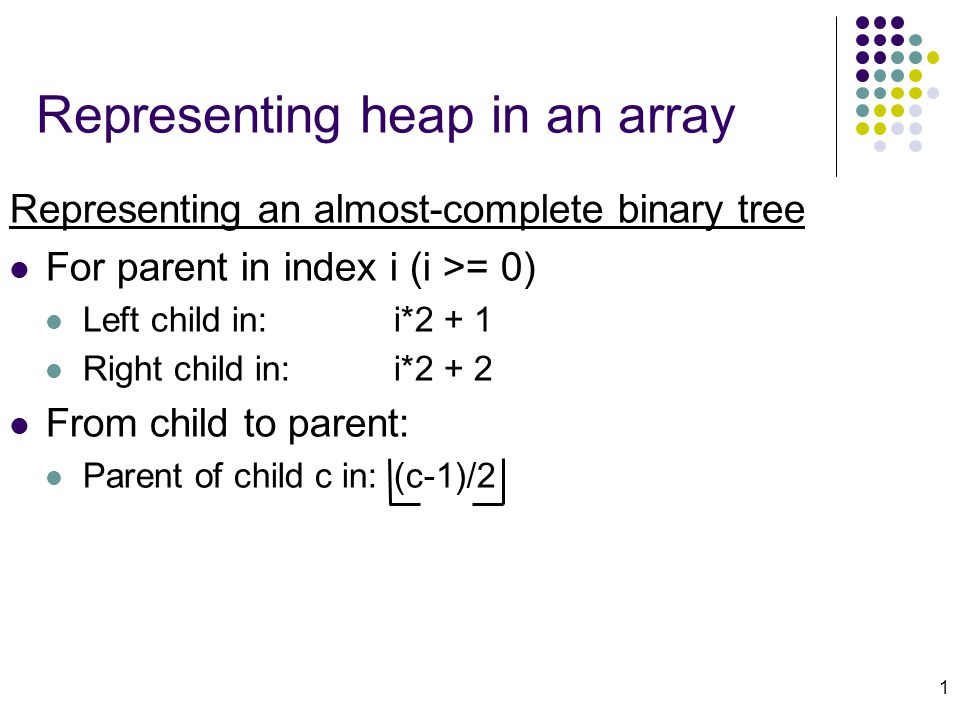 1 Representing heap in an array Representing an almost-complete binary tree For parent in index i (i >= 0) Left child in: i*2 + 1 Right child in: i*2 + 2 From child to parent: Parent of child c in:(c-1)/2