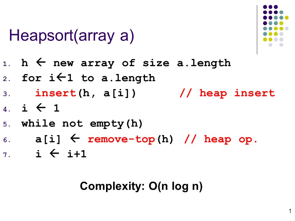 1 Heapsort(array a) 1. h  new array of size a.length 2.