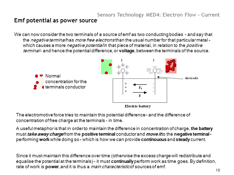 Sensors Technology MED4: Electron Flow – Current 19 Emf potential as power source We can now consider the two terminals of a source of emf as two cond