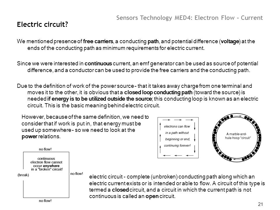 Sensors Technology MED4: Electron Flow – Current 21 Electric circuit? We mentioned presence of free carriers, a conducting path, and potential differe