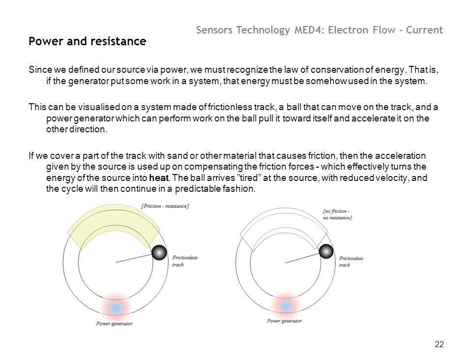 Sensors Technology MED4: Electron Flow – Current 22 Power and resistance Since we defined our source via power, we must recognize the law of conservat