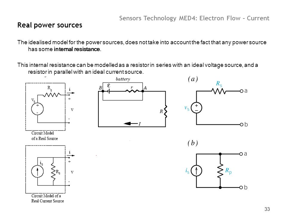Sensors Technology MED4: Electron Flow – Current 33 Real power sources The idealised model for the power sources, does not take into account the fact
