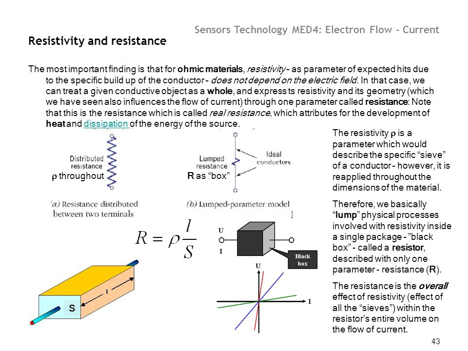 Sensors Technology MED4: Electron Flow – Current 43 Resistivity and resistance The most important finding is that for ohmic materials, resistivity – a