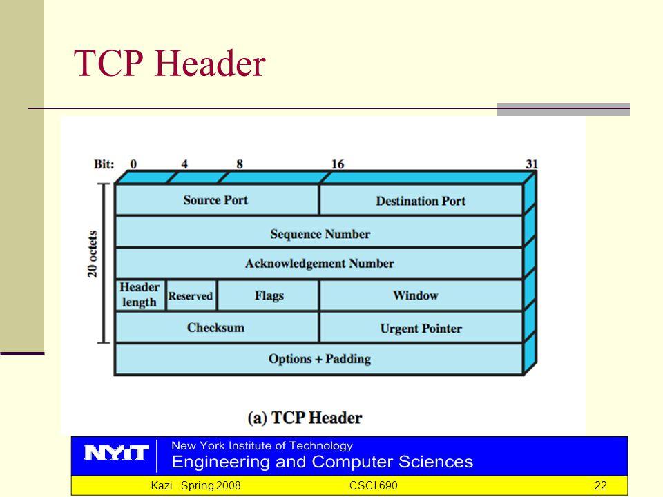 Kazi Spring 2008 CSCI 69022 TCP Header