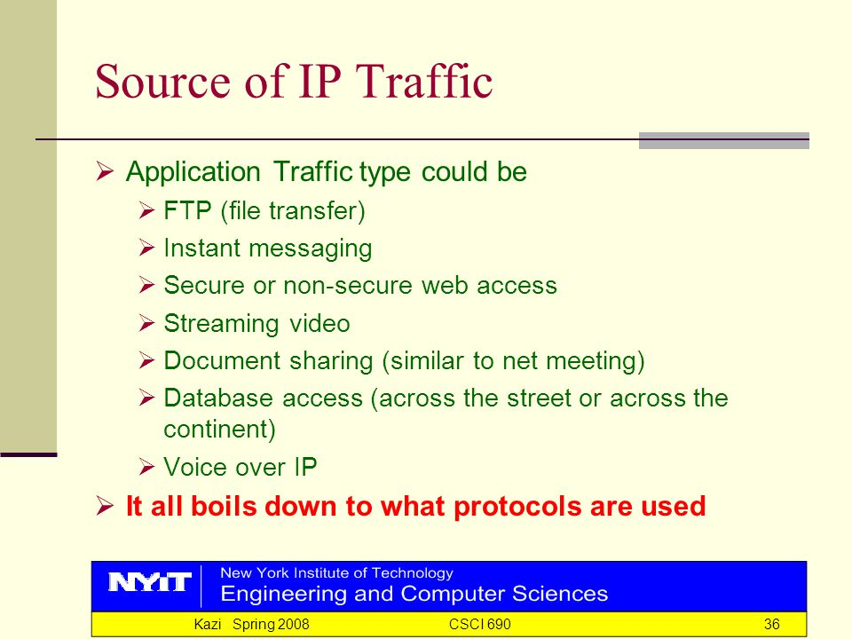 Kazi Spring 2008 CSCI 69036 Source of IP Traffic  Application Traffic type could be  FTP (file transfer)  Instant messaging  Secure or non-secure web access  Streaming video  Document sharing (similar to net meeting)  Database access (across the street or across the continent)  Voice over IP  It all boils down to what protocols are used