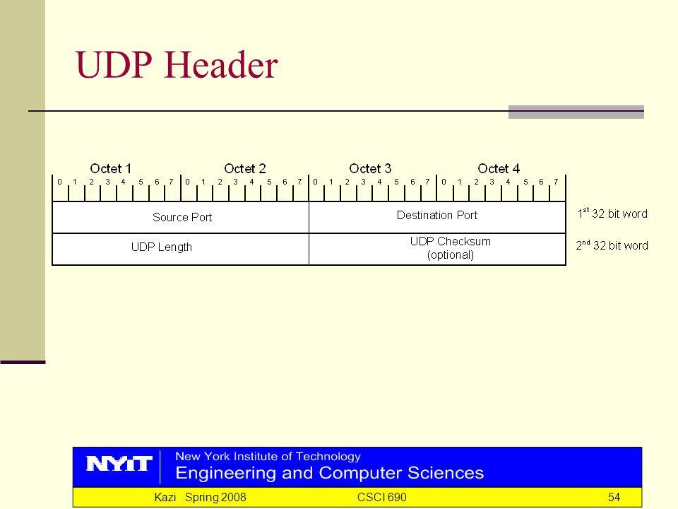 Kazi Spring 2008 CSCI 69054 UDP Header