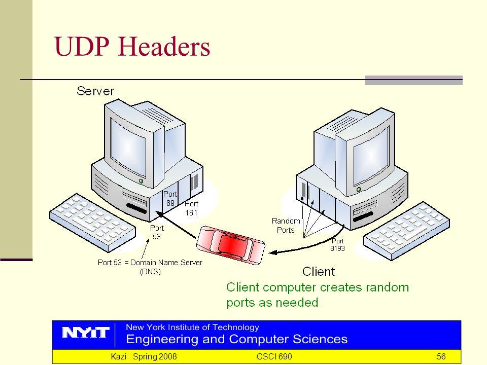Kazi Spring 2008 CSCI 69056 UDP Headers