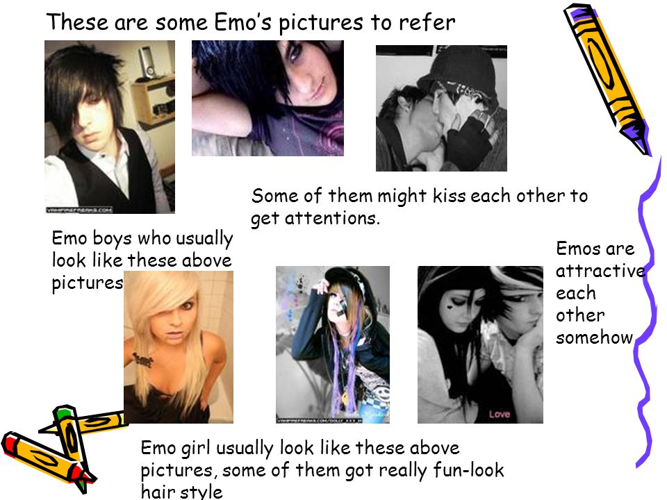 These are some Emo's pictures to refer Emo boys who usually look like these above pictures Some of them might kiss each other to get attentions. Emo g