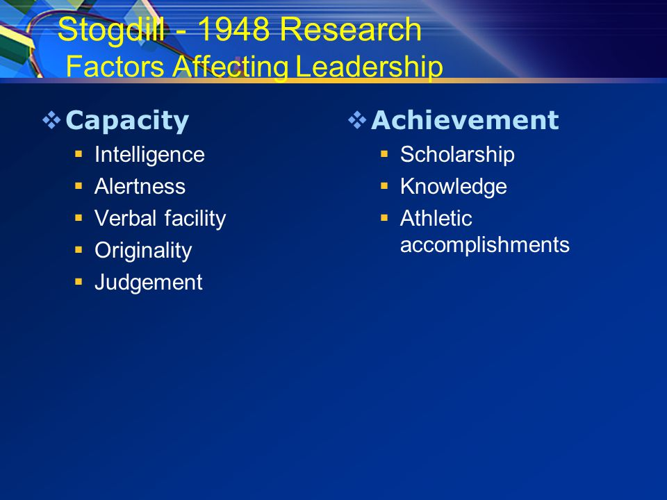 Stogdill - 1948 Research Factors Affecting Leadership  Capacity  Intelligence  Alertness  Verbal facility  Originality  Judgement  Achievement  Scholarship  Knowledge  Athletic accomplishments