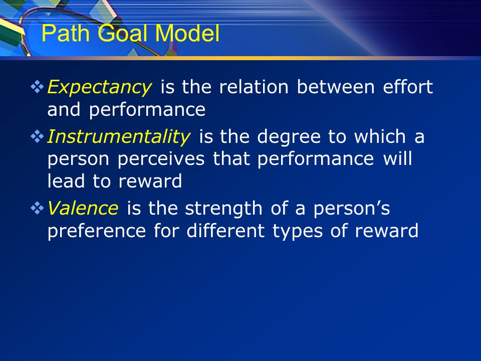 Path Goal Model  Expectancy is the relation between effort and performance  Instrumentality is the degree to which a person perceives that performance will lead to reward  Valence is the strength of a person's preference for different types of reward