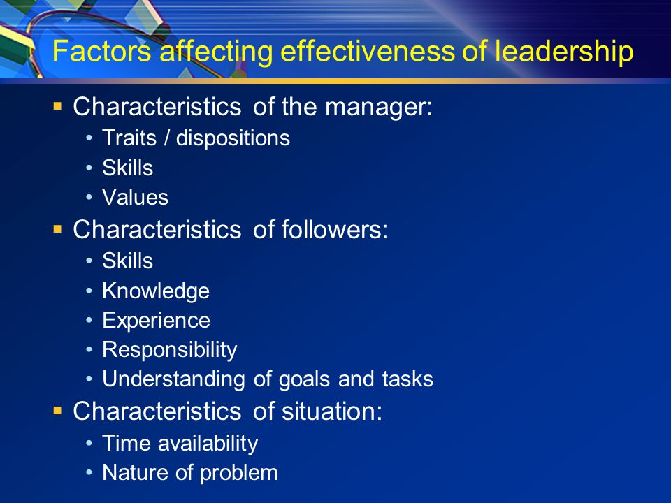 Factors affecting effectiveness of leadership  Characteristics of the manager: Traits / dispositions Skills Values  Characteristics of followers: Skills Knowledge Experience Responsibility Understanding of goals and tasks  Characteristics of situation: Time availability Nature of problem