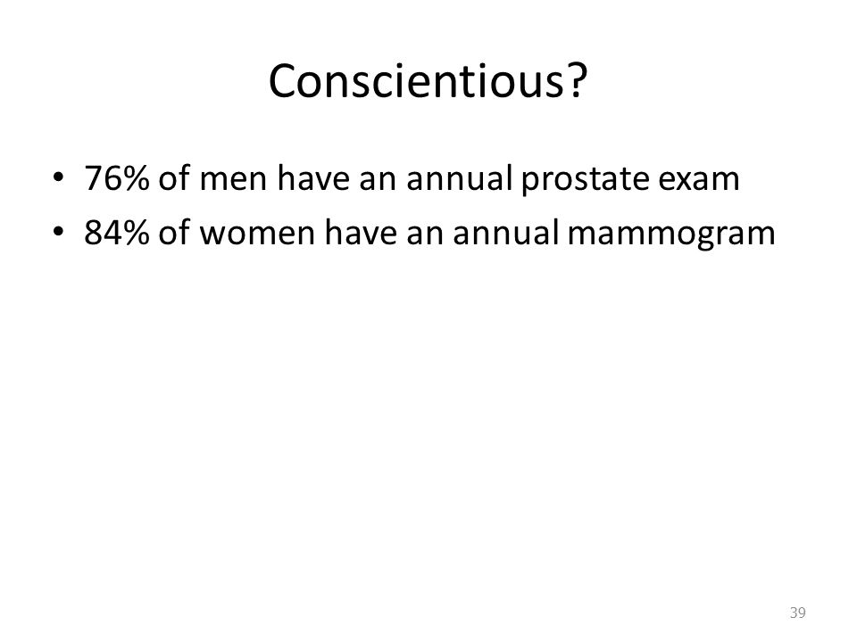 Conscientious 76% of men have an annual prostate exam 84% of women have an annual mammogram 39