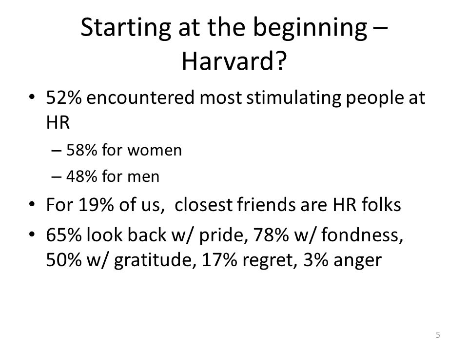 Starting at the beginning – Harvard.