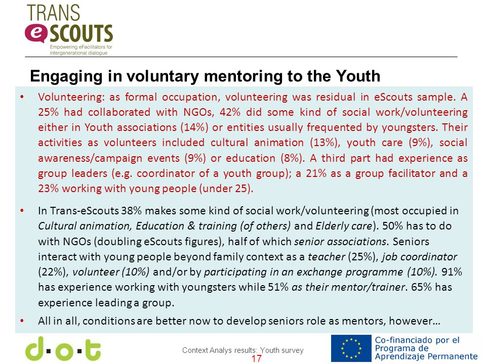 17 Context Analys results: Youth survey Volunteering: as formal occupation, volunteering was residual in eScouts sample.