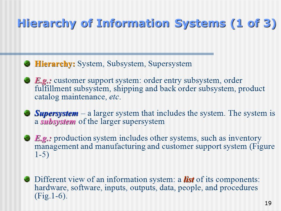 19 Hierarchy of Information Systems (1 of 3) Hierarchy: Hierarchy: System, Subsystem, Supersystem E.g.: E.g.: customer support system: order entry sub