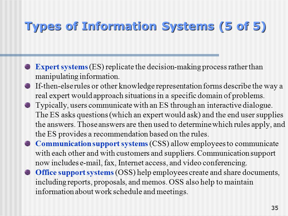 35 Types of Information Systems (5 of 5) Expert systems (ES) replicate the decision-making process rather than manipulating information. If-then-else