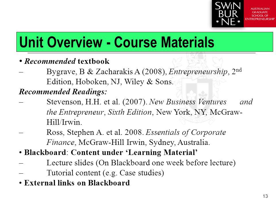 13 Recommended textbook – Bygrave, B & Zacharakis A (2008), Entrepreneurship, 2 nd Edition, Hoboken, NJ, Wiley & Sons.