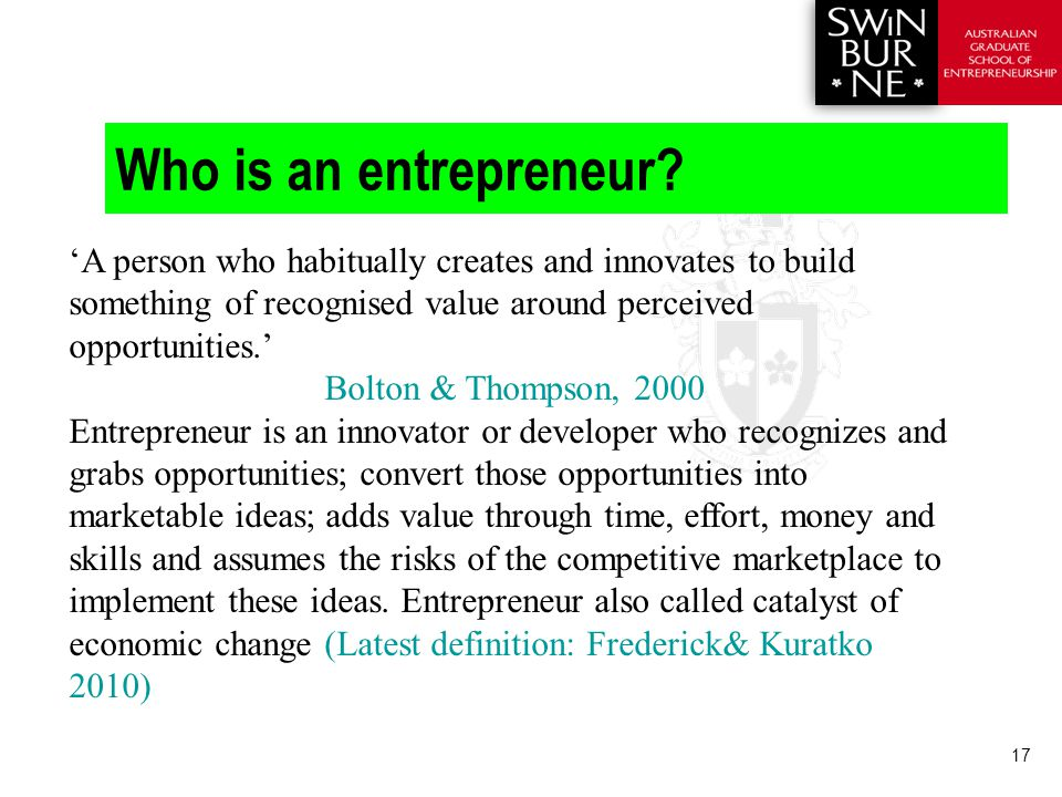 17 Who is an entrepreneur.